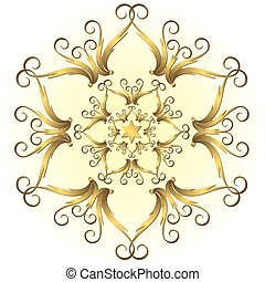 Golden vintage snowflake (vector) - Golden vintage snowflake...