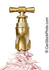 Golden vintage tap with money