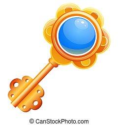 Golden vintage toy key isolated on white background. Vector cartoon close-up illustration.