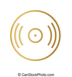 golden vinyl icon- vector illustration