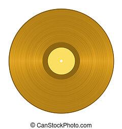 Golden vinyl record isolated in white