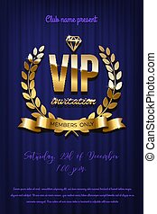 Golden VIP invitation template - type design with diamond and laurel wreath on blue curtain background. Vector illustration.