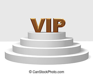 golden vip on a pedestal - 3d golden letters VIP on a white...