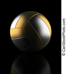 Golden volleyball on black background