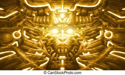 Golden wall of goddess with woman face bas-relief. Laser...