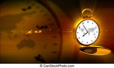 GOLDEN WATCH - Computer-rendered animation for world news or...