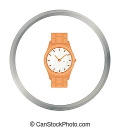 Golden watch icon in cartoon style isolated on white background. Jewelry and accessories symbol stock vector illustration.
