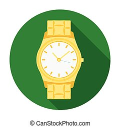 Golden watch icon in flat style isolated on white background. Jewelry and accessories symbol stock vector illustration.