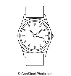 Golden watch icon in outline style isolated on white background. Jewelry and accessories symbol stock vector illustration.