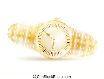 golden watch over white background