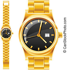 golden watch with bracelet vector illustration isolated on...