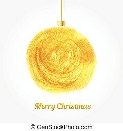 Golden watercolor painted Christmas ball. Christmas card...