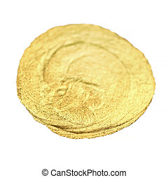 Golden watercolour circle stain. Abstract isolated Gold...