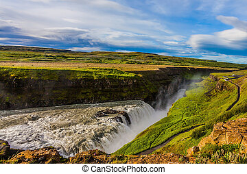 Golden Waterfall - Gullfoss. The most picturesque and...