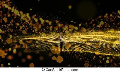 Golden wave design on black background - Digital animation...