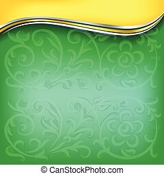 golden wave on green background