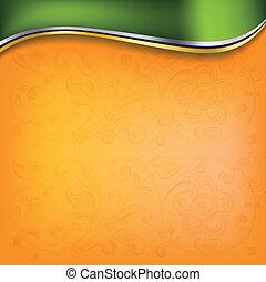 golden wave on orange background