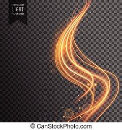 golden wave transparent light effect background