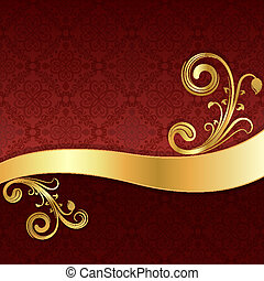 Golden wave with floral decoration and red wallpaper...