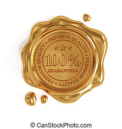 Golden wax seal 100 percent premium quality stamp isolated -...