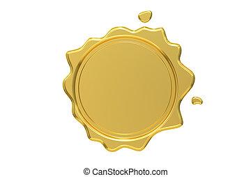 Golden Wax Seal, 3D rendering