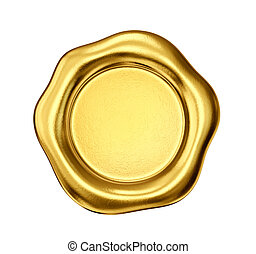 wax seal - golden wax seal isolated on a white. 3d...