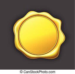 Golden wax seal vector illustration.