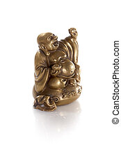 golden wealth buddha isolated on a white background