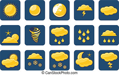 Golden Weather Icons - Weather icons set with various...