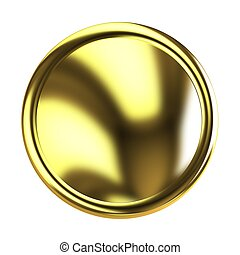 Golden Web button isolated on white background