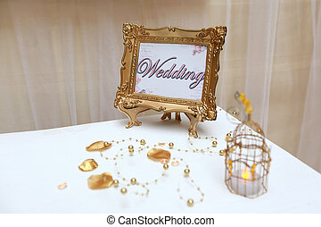 Golden wedding frame