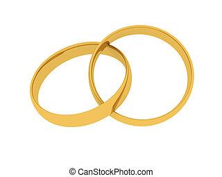 Golden Wedding Ring - A golden wedding Ring. 3D rendered...