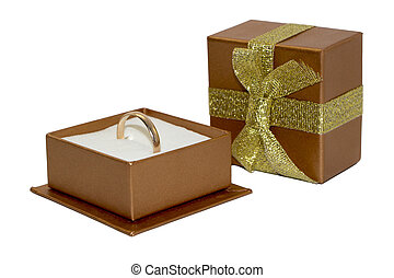 Golden wedding ring in gift box - Golden wedding ring in...