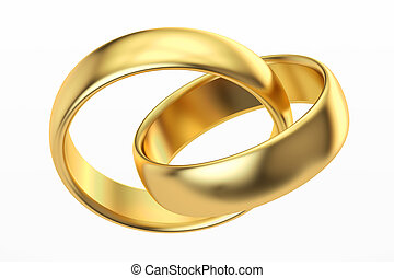 golden wedding rings, 3D rendering
