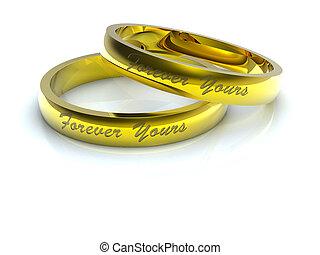 Golden wedding rings