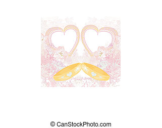 golden wedding rings - Invitation card