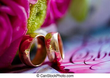 wedding rings - golden wedding rings on a colorful blur...