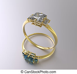 Golden wedding rings with diamonds. 3D rendering