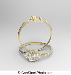 Golden wedding rings with diamonds.. 3D rendering
