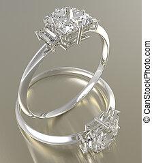 Golden wedding rings with diamonds. 3D rendering