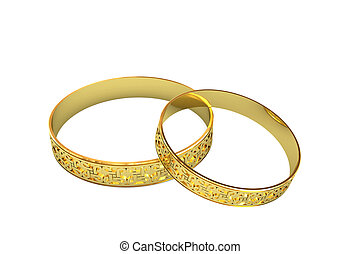 Golden wedding rings with magic tracery isolated on white....