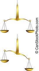 Golden weigh-scales - Vector illustration of golden...