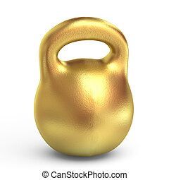 Golden weight - isolated on white background