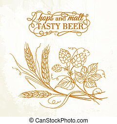 Golden wheat and hop on sepia. Vector illustration.