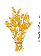 Golden wheat icon - Wheat icon, isolated and grouped objects...
