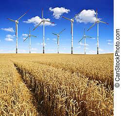 golden wheat with wind turbines
