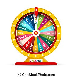 Golden Wheel of Fortune Vector Symbol Isolated on White Background. Chance of Money Win Icon with Jackpot.