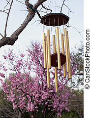 golden windchime against pink cherry blossoms - asian themed...