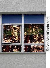 Golden window reflection