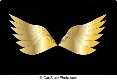 Golden wings vector illustration design